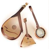Collection of three traditional string plucked instruments - Ukrainian bandura, Russian balalaika and six-string Mexican banjo — Stock Vector