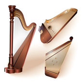 Collection of three traditional string plucked instruments - classical harp, Latvian kokle and Finnish kantele — Stock Vector