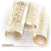 архитектурный фон с рулоны чертежей. частью архитектурного проекта — Cтоковый вектор