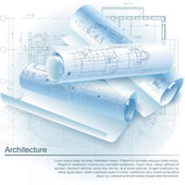 Architectural background with rolls of drawings. Part of architectural project — Stock Vector