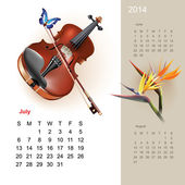 Colorful cute calendar for 2014 with musical design elements — Stock Vector