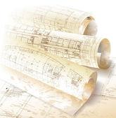 Architecturale achtergrond met rollen van tekeningen voor uw bedrijfssite — Stockvector