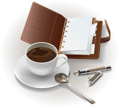 Set of an organizer, a cup of coffee and a pen — Stok Vektör