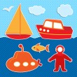 Set of cute vector colorful ships stickers and diver — Stock Vector #12338623