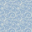 Winter blue seamless background with snowflakes — Vector de stock #12486611