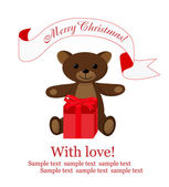 Christmas background with teddy bear and gift box — Stock Vector