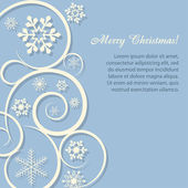 Christmas card/background with paper snowflakes — 图库矢量图片