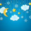 Vector blue background with hanging clouds, moon, stars and snowflakes — Stock Vector