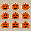 Stock Vector: Halloween stickers - pumpkins with different emotions
