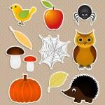 Autumn nature stickers set — Stock Vector #13479549