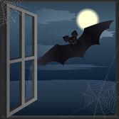Murciélago vuela hacia la casa abandonada de ventana abierta. — Vector de stock