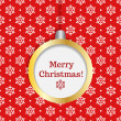 Hanging christmas decoration with merry christmas text on seamless snowflake background - Image vectorielle