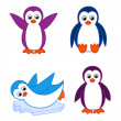 Collection of cute cartoon penguins — Stock Vector #13818906