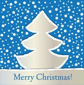 破れた紙モミの木とクリスマス カードの背景 — ストックベクタ