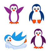 Collection of cute cartoon penguins — Stock Vector