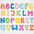 Cute textured sticker alphabet, vector illustration — Stock Vector