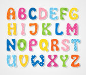 Cute textured sticker alphabet, vector illustration — Vector de stock