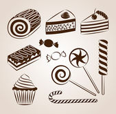 Sweet pastry collection — Stock Vector
