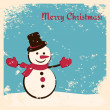 Retro Christmas card with happy snowman — Stock Vector