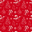 Red christmas seamless background with snowman, fir tree, gift, sock and baubles - Stock Vector