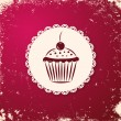 Invitation applique card / background. Label with cupcake on grunge cherry background. — Stock Vector