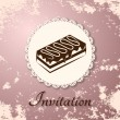 Invitation applique card / background. Label with cake on grunge pink background — Stock Vector