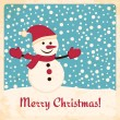 Retro Christmas card with happy snowman on falling snow background — Stock Vector #14968361