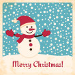 Retro Christmas card with happy snowman on falling snow background - Stock Vector