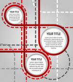抽象红色横幅上用虚线的灰色背景 — 图库矢量图片