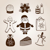 Collection of Christmas icons/objects — Cтоковый вектор