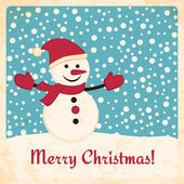 Retro Christmas card with happy snowman on falling snow background — Stock Vector