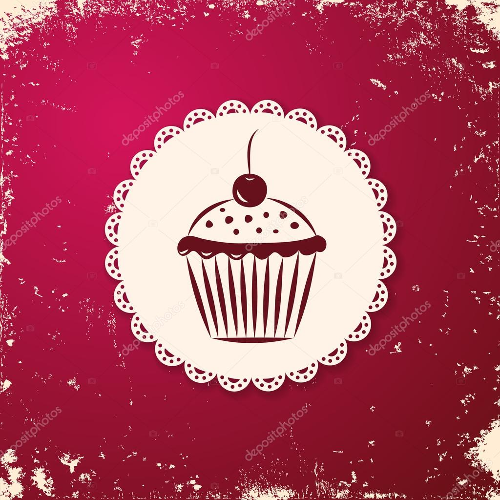 Invitation applique card / background. Label with cupcake on grunge cherry background.  Stock Vector #14966871