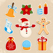 Collection of colorful Christmas stickers — ストックベクタ