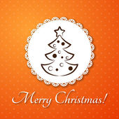 Christmas applique card / background. Badge with fir-tree on orange background — 图库矢量图片