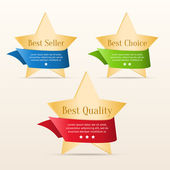 Best choice, best quality, best seller - golden stars with color ribbons — Stock Vector