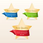 Beste keuze, beste kwaliteit, beste verkoper - gouden sterren met kleur linten — Stockvector