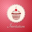 Invitation applique card / background. Label with cupcake on pink background with polka dots — Stock Vector