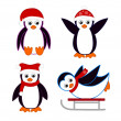 Collection of cute cartoon penguins wearing red hats and scarves — Stock Vector