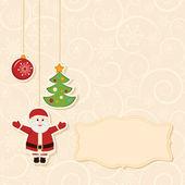 Heilwens gouden retro achtergrond met opknoping van de kerstballen en label — Stockvector