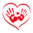 Royalty-Free Stock Vector: Man\'s and woman\'s red handprints in a heart on white background