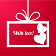 Valentine's applique card/background. Frame with two hearts and place for your text. — Векторная иллюстрация