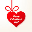 Valentine's applique card/background. Hanging red heart with greetings. — Stockvectorbeeld