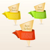 Set of gold banners with color ribbon. — Stock Vector