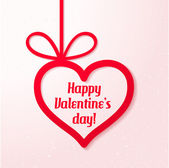Valentine's applique card/background. Hanging heart with greetings on pink background — Vector de stock