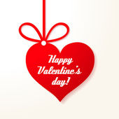Valentine's applique card/background. Hanging red heart with greetings. — Vector de stock
