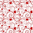 Stock Vector: Love seamless pattern. Red hearts and swirls on white background