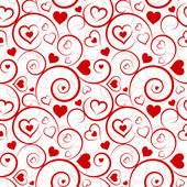 Love seamless pattern. Red hearts and swirls on white background — Cтоковый вектор