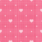 Retro seamless pattern. Hearts and dots on pink linen background — Stock Vector