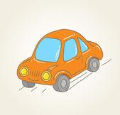 ретро рук нарисованные оранжевый автомобиль, векторные иллюстрации — Cтоковый вектор