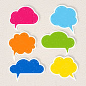Set of colorful frayed speech bubbles — Stock Vector
